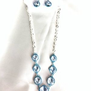 NEW‼️CharmingCharlie silver+blue necklace+earrings